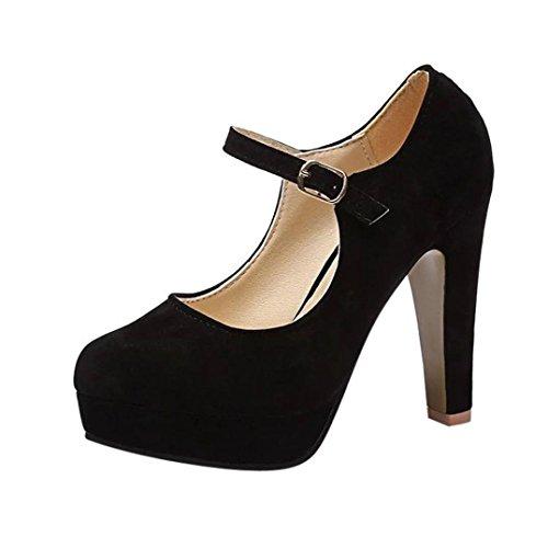 Fheaven Womens Strap Ankle Shoes Flock Shallow Middle Heel Dress Pump Shoes Stilettos Black nljIfKCk