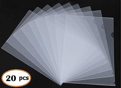 Clear Document Folder, L-Type - 18C Transparent Plastic Folder for US Letter/ A4 Office Size Paper Sleeves-20 PCS GREATDANE-J
