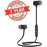 Lowfe Magnetic Wireless Bluetooth Earphones Headset with Mic for Handsfree Calling for All Smartphone Devices