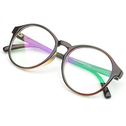 PenSee Oversized Circle Eyeglasses Frame Inspired Horned Rim Clear Lens Glasses - Eyeglasses Oval