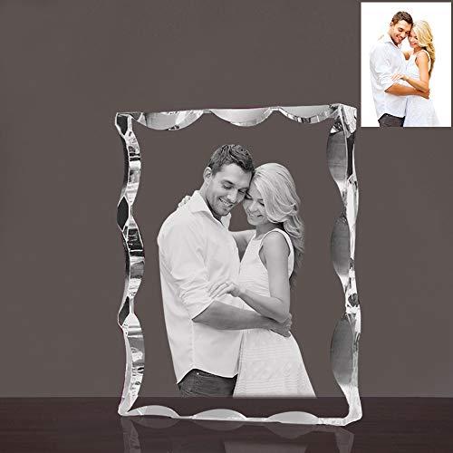 Qianruna Custom Personalized 2D/3D Laser Beveled Crystal Photo Landscape Engraving Etched -