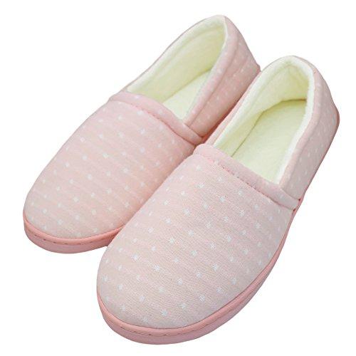 Bestfur Pur Coton Doublure En Peluche Confortable Chaussons Maison Chaussures Dintérieur Rose