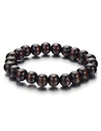 Mens Womens Wood Bracelet, 10mm Tibetan Beads Buddhist Prayer Mala, Dark Brown