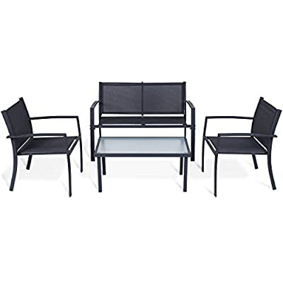 Tangkula 6PC Patio Furniture Set Outdoor Garden Backyard Poolside All Weather PE Rattan Wicker Steel Frame Sectional Cushioned Seat Sofa Conversation Set (Black) - High Quality and Attractive: Galvanized steel construction and exquisitely woven wicker will resist the elements and stay beautiful through years of use. Random Combination: Include 1 table with glass top ,1 single sofa, 2 corner sofa ,1 armless sofa and 1 ottoman ,you can combine them as well as you like to suit your home style. Comfortable Design: With removable thick seat and back cushions, you can take the cushion out in the winter, but put it away in the summer. - patio-furniture, patio, conversation-sets - 41koWnO2EyL. SS400  -