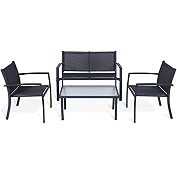Tangkula 4PCS Patio Conversation Set for Outdoor Indoor Use with Glass Top Coffee Table, Loveseat 2 Chairs Home Living Room Furniture Balcony Garden Lawn Modern Patio Furniture Set, Black