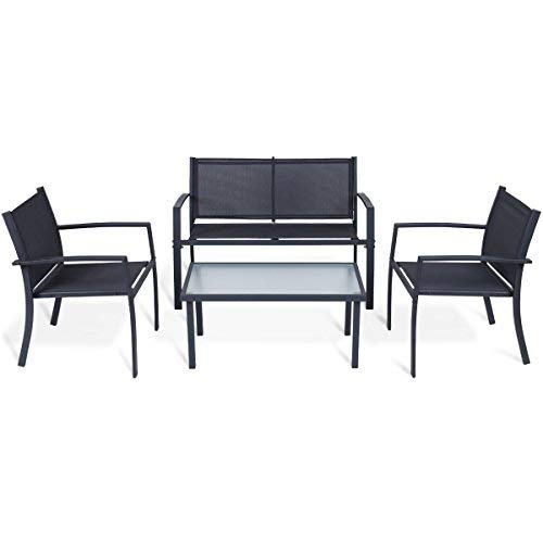 TANGKULA 4PCS Patio Conversation Set for Outdoor Indoor Use with Glass Top Coffee Table, Loveseat & 2 Chairs Home Living Room Furniture Balcony Garden Lawn Modern Patio Furniture Set, Black Review