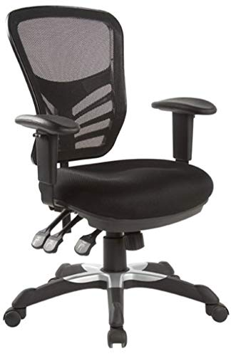 Hercke Deluxe Mesh Back Ergonomic Lumbar Support Multi-Function Adjustable Office Chair - 360 Degree Swivel 330lb Capacity Black with Two-Tone Heavy Duty Base - Breathable Sponge Seat Cushion