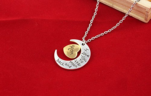 #4 Leisial Collar Colgante del Alfabeto Luna I Love You to the moom and backAcero Inoxidable Forma de Amor para Hombres Mujeres
