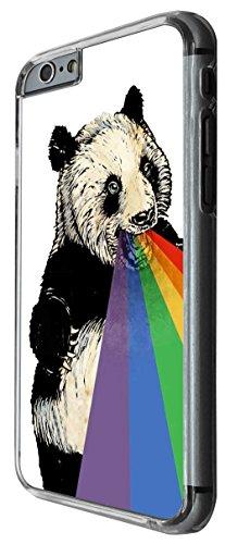 1015 - Cool fun cute panda raindow mouth retro art illustration trend funny kawaii colourful Design For iphone 4 4S Fashion Trend CASE Back COVER Plastic&Thin Metal -Clear