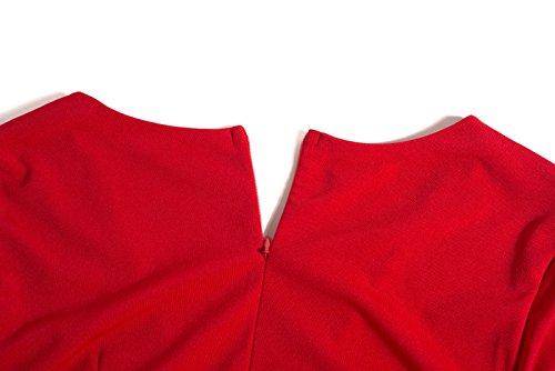 1950s V Ceremonia Vestidos Atada Cuello Ocasionales Beauty7 Trabajo Falda Mangas Rojo Blanco a Negro Cintura Rojo Midi Hepburn la Recto Largo Elasticidad Dress Coctel Profundo Casual Invierno UdwIwY