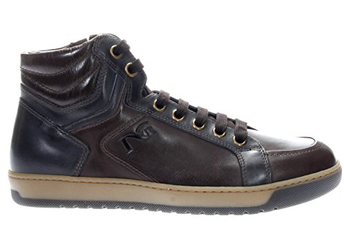 Giardini Sneaker Pelle In Nero blu Marrone Uomo Alta RdS8Rn