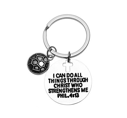 Soccer Charm Keychain, Christian Faith Charm Keychain, I Can Do All Things Through Christ Who Strengthens Me Phil. 4:13 Scripture Jewelry, Soccer Gifts Women Men