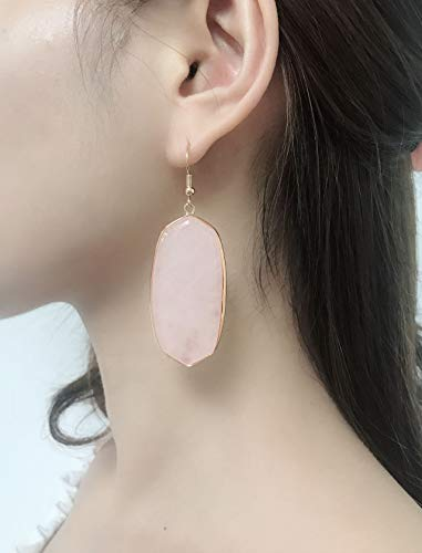 Top Plaza Womens Fashion Natural Gemstone Oval Rhombus Ear Hook Water Drop Ear Pendant Dangle Earring(Oval Rose Quartz) by Top Plaza (Image #5)