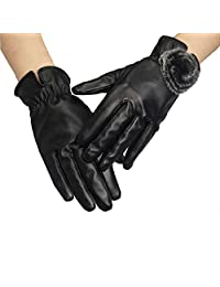 CAILIN Winter Leather Gloves for Women, Super Soft Coral Fleece Lined Warm Gloves Windproof Waterproof Warm GlovesTouchscreen Texting Rabbit Fur Wrist Winter PU Leather Gloves Driving Lining Gloves