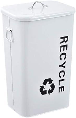 Hierro Cubos de Basura Interiores/Exteriores Cocina Jardín Contenedores de Basura Cubiertos Cubos de Basura Contenedores de residuos Papelera 26L/40L Basura y Reciclaje Cubos de Basura para Exterior: Amazon.es: Hogar