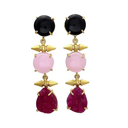 Enhara Jewels Pink Druzy, Black Onyx Earrings with Gold Bullets/Long Statement Earrings/Gemstone Earrings/Pink Dangle (Long Gemstone Earrings)