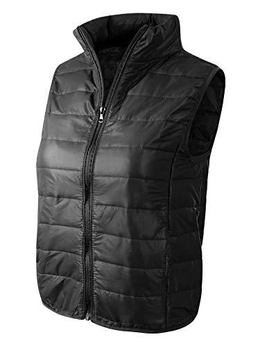 - MixMatchy Women's Casual Lightweight High Neck Puffer Vest Black M