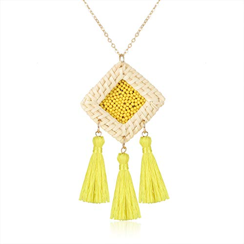 GLBCC Statement Tassel Necklace Handmade Rattan Drop Necklace Boho Beaded Y-Shape Pendant Long Chain Necklaces for Women (Yellow)