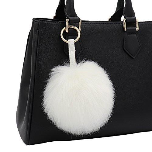 Aiphamy Faux Fur Pom Pom Keychain Purse Bag Charm Fluffy Ball Key Chain for Women (White) ()