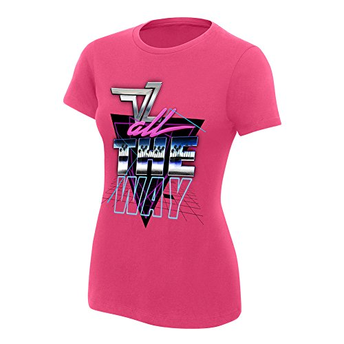 WWE Dolph Ziggler All The Way Women's Authentic T-Shirt Pink Large (Dolph Ziggler T Wwe Shirts)