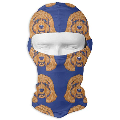 Winter Balaclava Windproof Balaclava Hood Gift for Women Men - Polyester Multipurpose Waterproof Hat Scarf for Snowboard Hunting, Neck Warmer (Golden Doodle Dog) ()