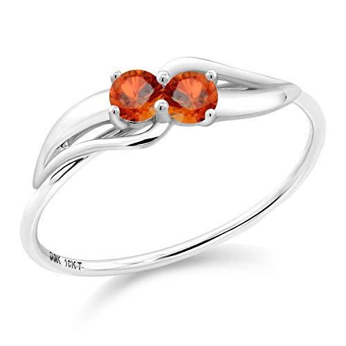 Gem Stone King 0.32 Ct Round Orange Sapphire 10K White Gold Ring