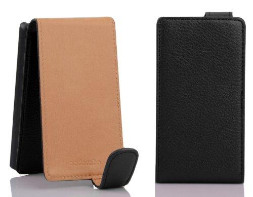Cadorabo - Funda Flip Style para Nokia Lumia 925 de Cuero Sintético - Etui Case Cover Carcasa Caja Protección en ROJO-INFIERNO NEGRO-ÓXIDO