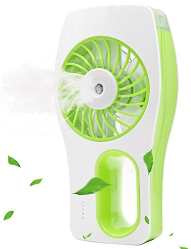 Minhe Handheld USB Misting Fan Humidifier,USB Rechargeable Portable Fan,Summer Spray Fan for Face Water Supply, Beauty. Use in Home, School, Office Room, Travelling, Car (Green) by Minhe