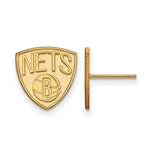 NBA Brooklyn Nets Post Earrings in 10K Yellow Gold by LogoArt