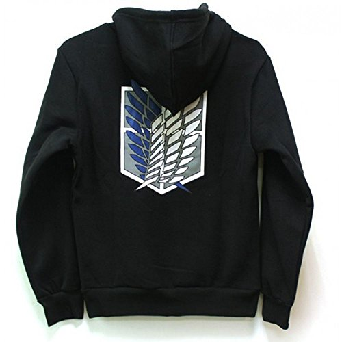 Attack on Titan Cool Jacket Sweater Zip Hoodie Cosplay Costume for Kids Child Sportwear (L, Black)]()