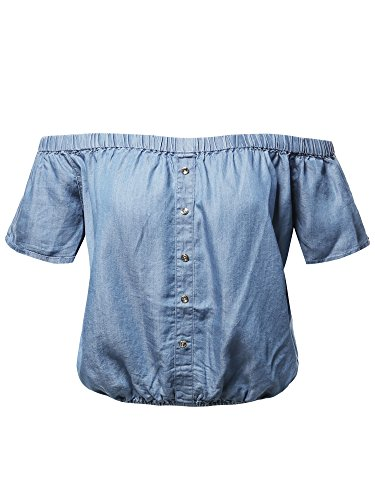 Casual Half Sleeve Off Shoulder Gathered Silver Buttons Blouse Light L ()
