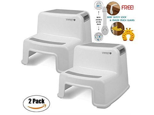Kids Step Stool By Sahara Baby: Dual Height Step Stool for Toddlers, Anti-Slip Rubber For Safety, Suitable For Kitchen or Potty Training in Bathroom With Door Pinch & Safety Lock Accessories (2 pack) ()