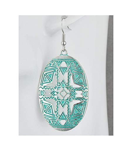 Medallion 2.5 Inch Silver Medallion - Silver Turquoise Patina Earrings Dangle Lightweight Oval Medallion 2.5