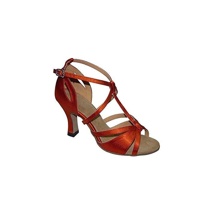 Xue Scarpe Da Donna Latino scarpe Ballo Pu Sandalo sneaker Performance pratica Fibbia nastro Tie Heel Dance Party amp; Evening colore C Dimensione 35