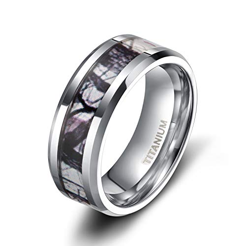 TIGRADE 6mm 8mm Titanium Rings Camouflage Mosaic Pattern Inlay Wedding Band Comfort Fit Size 5-13