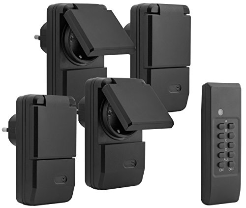 mumbi 24280 Set de douilles radio-commandées pour lextérieur (anti-éclaboussures, IP44), 4x douilles télécommandées + 1x télécommande, 1100 Watt, noir