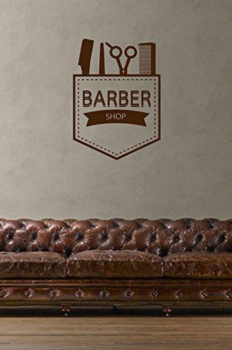 Wall Decal Sticker scissors razor comb emblem male hairdresser salon Wall Mural, Removable Sticker, Home Decor -