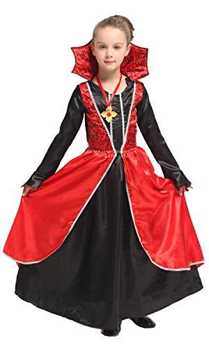 Vampire Witch Halloween Costumes (U LOOK UGLY TODAY Girls Halloween Costume Vampire Witch Party Dress Costume for Girls Cosplay Dress Up Party (Large,)