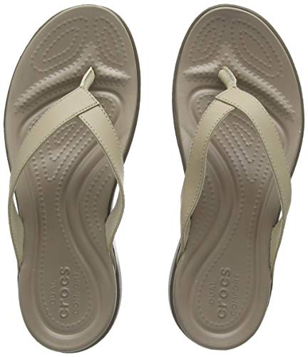 Crocs Womens Capri V Flip Flop | Casual Sandal With Extra Soft Footbed and Soft Leather Straps |  Lightweight Beach Shoe