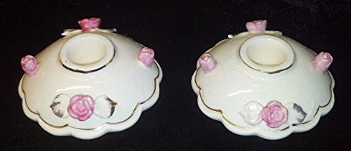 Vintage Pair RELCO Porcelain Candle Holders Roses 22K Gold Trim (Vintage Porcelain Candle Holder)