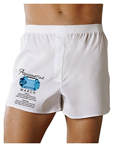 Boxer Marine Shorts (TooLoud Birthstone Aquamarine Boxers Shorts - White - XL)