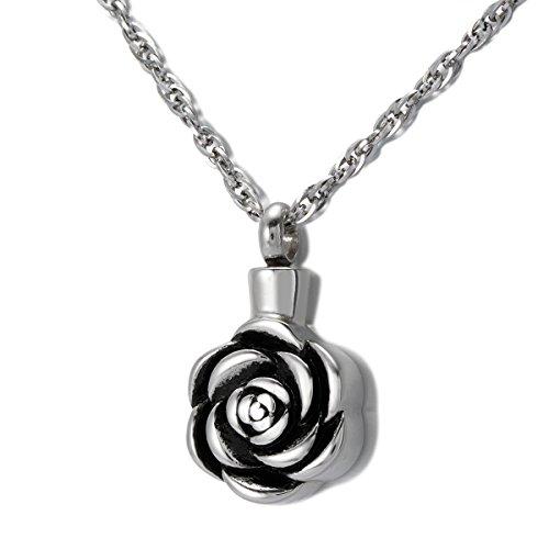 ZARABE Cremation Jewelry Rose Urn Necklace Memorial Ash Keepsake Pendant
