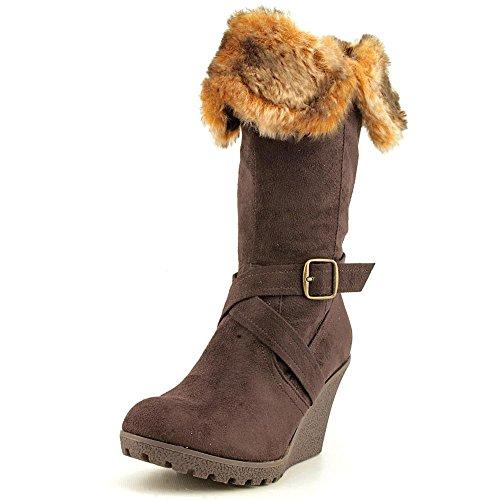 XOXO Women's Olivia Faux Fur Wedge Boots, Brown, Size (Marrone Footwear)