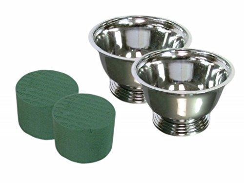 Centerpiece Arrangement Kit (2 Kit Pack) - Each Kit Has (1) Oasis #5 Floral Foam Cylinder + (1) Vacuum Orna Metal Plastic Silver Plated Revere - Bowls Revere Plastic