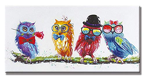 - PICTURE IT ON CANVAS Colorful Owl Oil Wall Art Painting Decor Hand Painted Home Decor Artwork for Living Room Bedroom,Ready to Hang 12X24 Inch