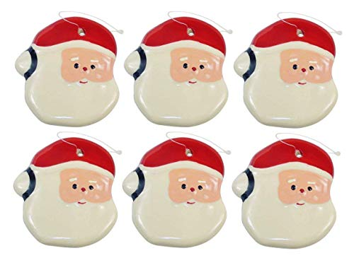 JH Smith Santa Xmas Ornament - Shiny Glazed Earthenware Christmas Ornament Santa Face with Hanging String, Great Collection for The Holiday Tree Trimmings. Set of 6. ()