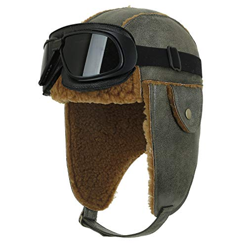 (ililily Aviator Hat Winter Snowboard Fur Ear Flaps Trooper Trapper Pilot Goggles (One Size, Olive Green&Brown/Black Goggle))