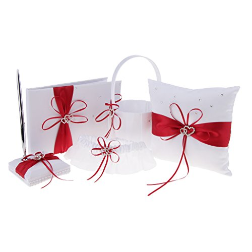 - D DOLITY Crystal Double Heart Wedding Basket Ring Pillow Garter Guest Book Pen Holder Set - Red, as described