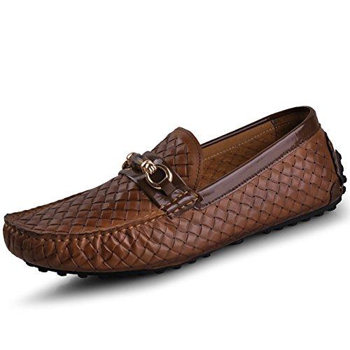 Zapato De Conducción De Cuero Genuino Para Hombre Santimon-Hombres Zapatillas De Deporte De Mocasín Horsebit Mocasín Doug Marrón