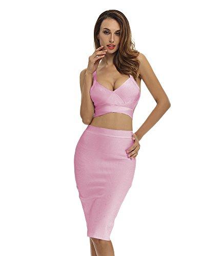 Whoinshop Women's Bodycon Skirt Set 2 Pieces Sleeveless Celebrity Bandage Dress (XS, Pink) (Jessica Sleeveless Skirt)
